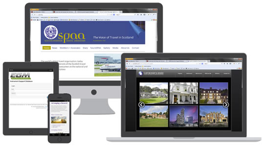 Portfolio websites shown on deskop, laptip, tablet and mobile devices